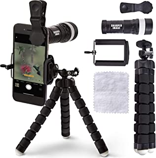 SHARPER IMAGE Clip On Smartphone Telescope and Tripod Set for Capturing 10x Zoom Photos, 5-Piece Kit with Articulated Flexible Mini Handheld Tripod, Miniature Telescopic Lens, Phone Mount, Lens Cloth