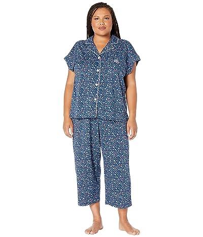 LAUREN Ralph Lauren Plus Size Short Dolman Sleeve Notch Collar Capri Pants Pajama Set (Navy Print) Women