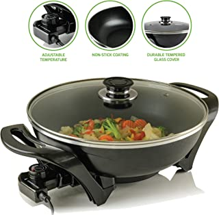 OVENTE Non-Stick Electric Skillet with Aluminum Body, 13 Inch, Adjustable Temperature Controller/Regulator Included, Tempered Glass Cover, Cool-Touch Handles, Sk3113B, Black