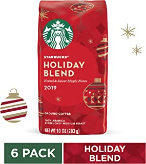 Starbucks Holiday Blend Medium Roast Ground Coffee, 10 Ounce (Pack of 6) | Herbal & Sweet Maple Notes