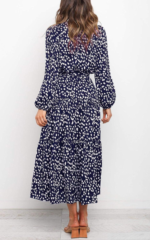 MITILLY Women's Boho Leopard Print Ruffle Long Sleeve V Neck Casual Flowy Party Maxi Dress