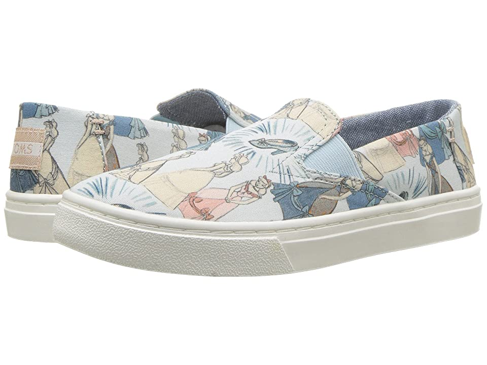 TOMS Kids Luca Disney(r) Princesses (Little Kid/Big Kid) (Blue Cinderella Printed Canvas) Girl