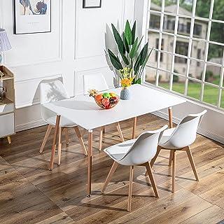 FURNITABLE Table Rectangulaire Scandinave Design, Table de Salle à Manger avec Jambes en Hêtre, 140 x 80 cm, Blanche