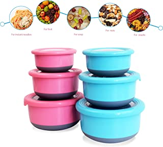 Stainless Steel Food Containers with Silicone Lids | 6 Extra Lids | 3 Pink, 3 Blue Stainless Steel Lunch Containers with Lids | Slip Resistant Bottoms | Baby Food Containers | Bento Box