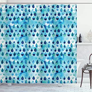 Ambesonne Navy and Teal Shower Curtain, Abstract Blue Watercolor Drops Aquarelle Art Rain Teardrop Quirky, Cloth Fabric Bathroom Decor Set with Hooks, 75