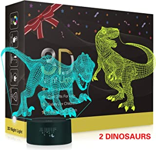 Dinosaur 3D Night Light,Metplus Kids Room Decor Bedside Lamp 7 Colors LED Illusion Table Desk Lamps USB Touch Sensor Nightlights Children Xmas Birthday Gift - 2 Acrylic Panels