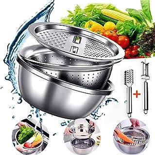 RAYNAG Stainless Steel Drain Basket 3-in-1 Strainer Bowl and Vegetable Slicer//Peeler Bowl and Grater Lid