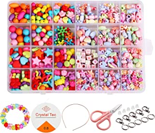 Beautyshow 680 Pcs DIY Beads Set, Craft Beads Kids Colorful Diy Beads Toy Acrylic Handmade Beaded for DIY Necklaces Bracel...