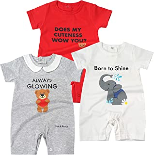 Baby Boys Girls 3-Pack Romper Shorts Clothes Unisex 100% Cotton, White Red Grey, Elephant Teddy Bear, Fun Writings