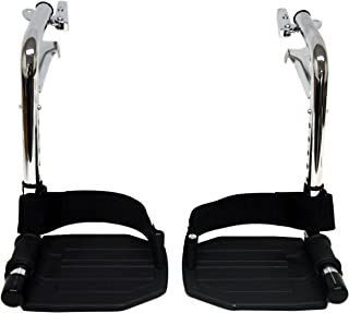 Heavy Duty Chrome Wheelchair Footrests with Black Aluminum Footplates & Heel Loops (Pair), 1-3/8