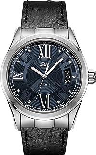 ساعة فاخرة مرصعة بـ 9 ماسات للرجال من جيه بي دبليو بسوار جلد ونقش على شكل نعامة