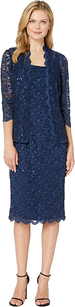 Tea Length All Over Sequin Lace Jacket Dress