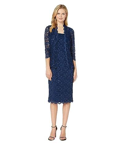 Alex Evenings Tea Length All Over Sequin Lace Jacket Dress (Navy) Women