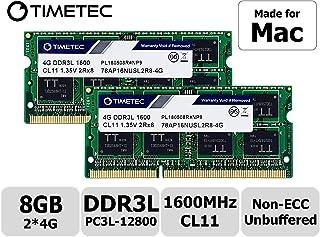 Timetec Hynix IC Apple 8GB Kit (2x4GB) DDR3 1600MHz PC3-12800 SODIMM Memory Upgrade For selected MacBook Pro/iMac/Mac mini/ Server