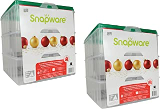 Snapware Snap 'N Stack Square 3-Tier 13 x 13-Inch Ornament Storage Container - 2 Pack