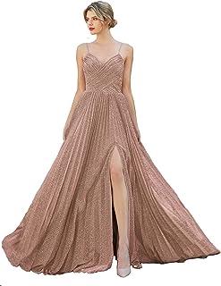 Meier Women's Metallic Glitter Pleated Long Prom Formal Dress