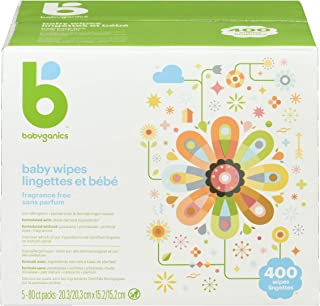Babyganics Unscented Baby Wipes, Plant-Derived and Non-Allergenic Wipes Perfect for Faces, Hands, and Baby's Body, Fragran...