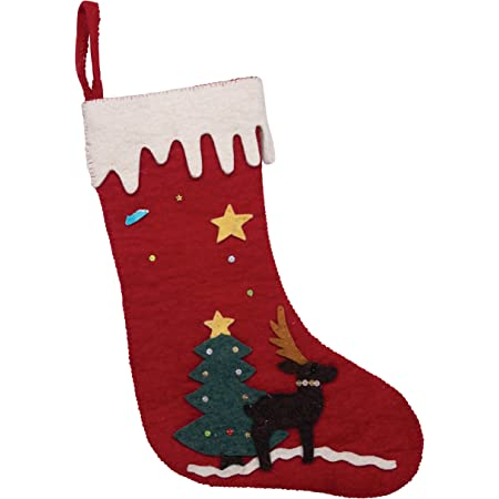 Creative Co Op Appliqued Embroidered Wool Felt Owl Christmas Stocking Multicolor Home Kitchen