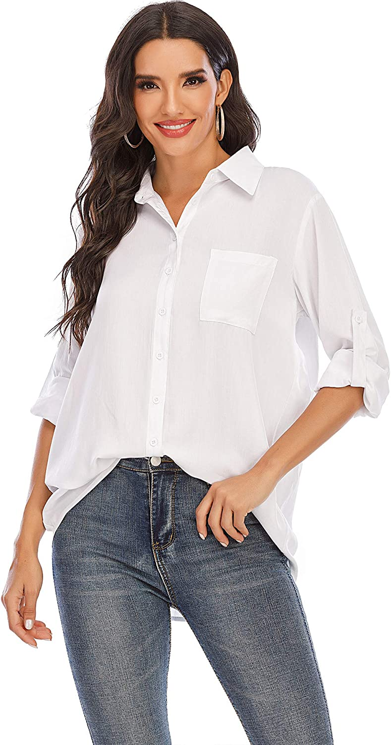 LUSMAY Women Button Down Roll Up Sleeve Boyfriend Dress Shirts Business Casual Blouses