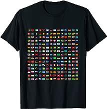 World Flags T-Shirt Cool Travel 210 Flag International Tee