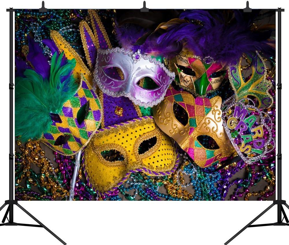 DePhoto 9X6FT Carnival Mardi Gras Colorful Mask Poster Masquerade Seamless Vinyl Photography Backdrop Photo Background Studio Prop PGT140B