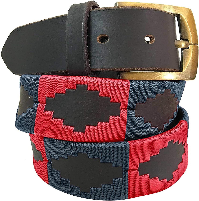 Carlos Diaz Cinturón Polo de Cuero Bordado Marrón Premium de Diseñador para Hombres Mujeres Unisex