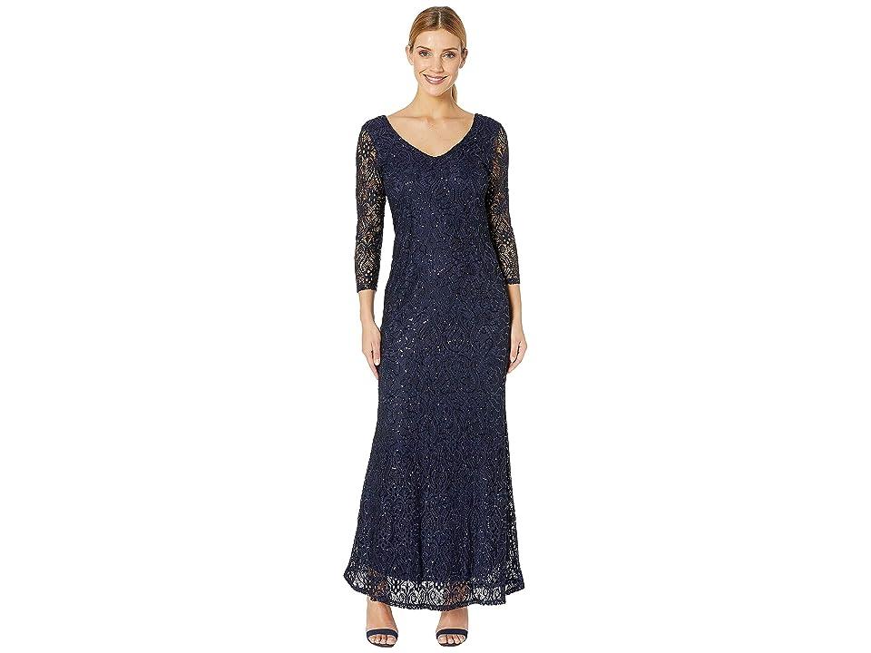 MARINA Slim 3/4 Sleeve Lace Dress with V Front/Back Neckline (Navy) Women
