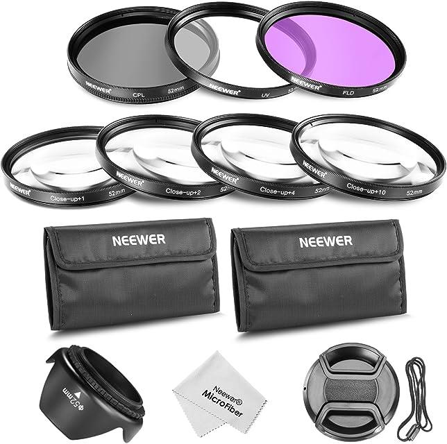 Neewer ®52MM profesional lente filtro y primer plano Macro accesorio Kit para NIKON D7100 D7000 D5300 D5200 D5100 D5000 D3300 D3200 D3100 D3000 D90 D80 DSLR cámaras - incluye Kit de filtro (UV CPL FLD) + primer plano Macro Set (+ 1 + 2 + 4 + 10) + filtro de bolsa de transporte + parasol flor del tulipán + centro pellizca la tapa del objetivo con tapa Keeper Correa +paño de limpieza de microfibra