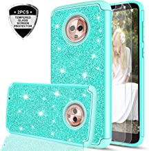 Moto G6 Glitter Case with Tempered Glass Screen Protector [2 Pack] for Girls Women,LeYi Sparkly Bling Dual Layer Hybrid Shockproof Protective Phone Case for Motorola G (6th Generation) TP Mint