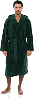 Men's Robe, Plush Fleece Hooded Spa Bathrobe