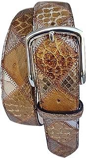 ESPERANTO Cintura 4 cm in Pitone, Struzzo e Pelle Bovina-Unisex