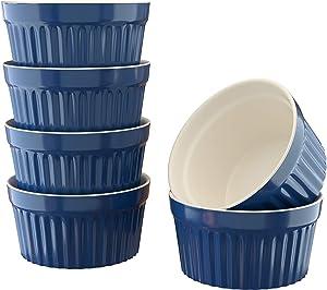 Kook 8 oz Porcelain Ramekins, Oven Safe, For Baking Pot Pies, Creme Brulee. Lava Cake, Set of 6 (Navy)