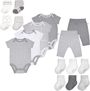 Fruit of the Loom Baby Gift Set 16-Piece Breathable Cooling Mesh Bodysuits, Pants and Socks - Unisex, Girls, Boys