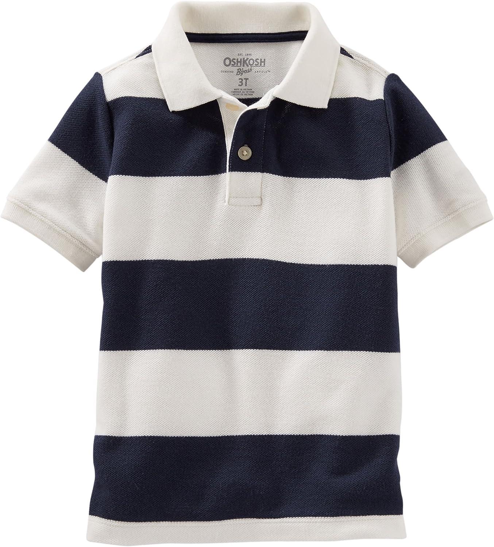 OshKosh Boys Striped Pique Polo S/S Shirt, Navy