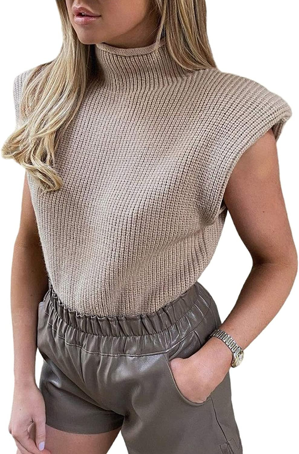 Linsery Women's Turtle Neck Sleeveless Knit Sweater Vest Shoulder Pad Pullover