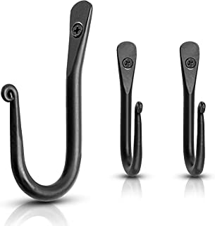 Wall Mounted Hook - Wrought Iron Decorative Blacksmith Handmade Simple Iron Hook for Bathroom and Kitchen, Black Hooks for...