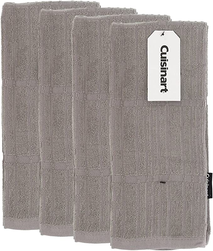 Cuisinart Bamboo Kitchen Hand And Dish Towels Absorbent Light Weight Soft And Anti Microbial Dry Hands And Dishes Premium Bamboo Cotton Blend Drizzle Grey Set Of 4 16x26 Bark Effect Design