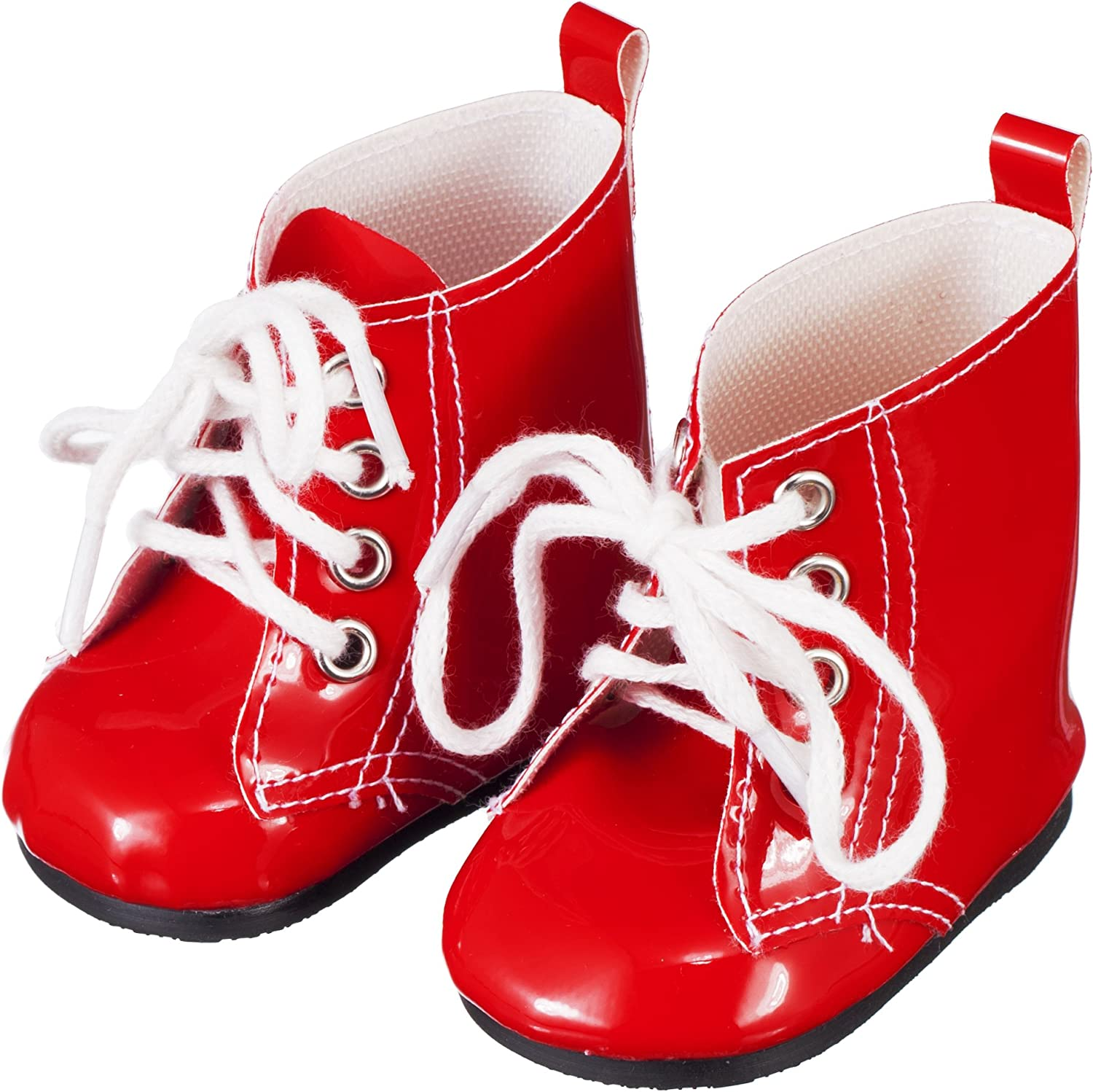 Doll Clothing shoes for American Girl And Other 18 Inch Dolls  Red Lace Up Boots  Fashion Doll Clothes by Modoll