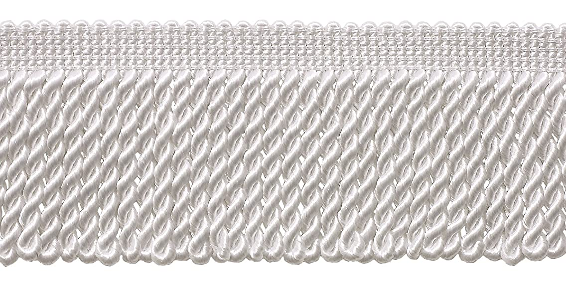 DecoPro 10 Yard Value Pack of White 2.5 Inch Bullion Fringe Trim, Style# EF25 Color: A1 (30 Ft / 9.1 Meters)