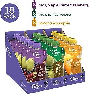 Plum Organics 二阶段婴儿食品,果蔬包,113克(18包)(新老包装,随机发货)