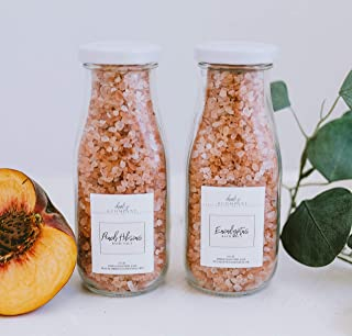 Peach Hibiscus & Eucalyptus Himalayan Pink Salt Bath Set. Bottled in Glass & Made in USA.