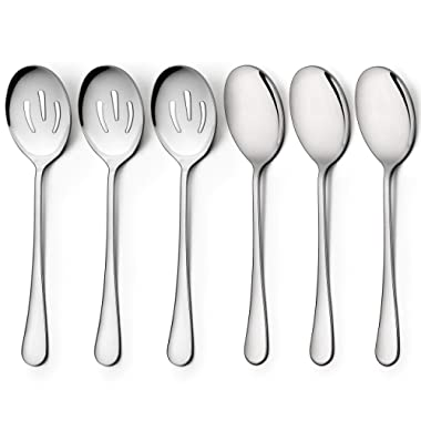 LIANYU 3 Serving Spoons, 3 Slotted Serving Spoon, Stainless Steel Party Buffet Catering Dinner Banquet Serving Spoons, 8 3/4 Inch, Mirror Finish, Dishwasher Safe