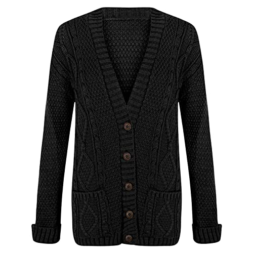 RIDDLED WITH STYLE Women s Ladies Long Sleeve Button Top Chunky Aran Cable  Knitted Grandad Cardigan 540d29b63
