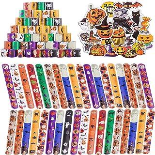 Halloween Slap Bracelet for Kids, 48Pack Slap Bracelets Bulk with Pumpkin Ghost Spider Pattern for halloween party Gifts w...