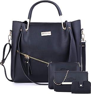 Shining Star Women's Handbag with Sling Bag and Clutch Combo (Black)