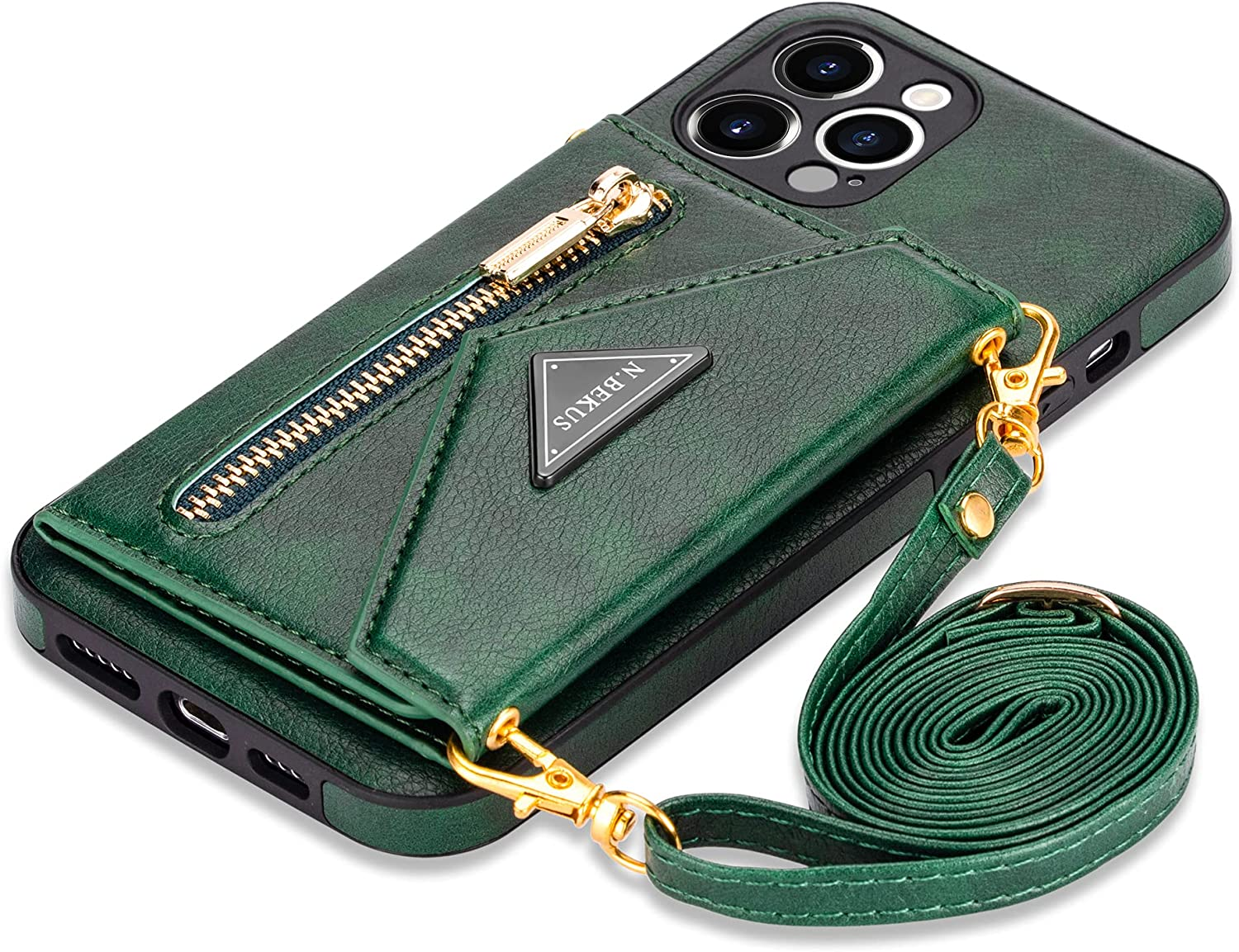Shoulder Strap Leather Case for iPhone 12 6.1 inch Wallet Bumper Cover, Shockproof Stand Lanyard Crossbody Case (Green,iPhone 12)