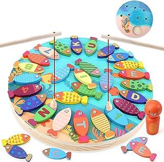 BeebeeRun 2 en 1 Juego de Pesca Magnetico,Juguetes para 3 4 5 Años Niñas Niños,Alfabeto Magnético de Madera Educación Jugu...