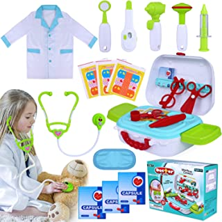 INNOCHEER Kids Play Doctor Kit 20 Pieces Pretend-n-Play Medical Toys Set with Roleplay Doctor Costume and Carry Case for Little Girls Boys