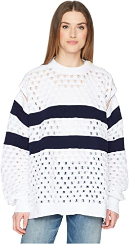 Sailor Stripe Knit Convertible Sleeve Sweater
