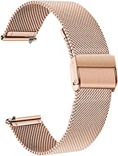 TRUMiRR Band for Samsung Galaxy Watch 42mm / Active 2 40mm 44mm/ Gear S2 Classic Rose Gold Women, 20mm Mesh Woven Stainless Steel Watchband Quick Release Strap Bracelet for Garmin Vivoactive 3/3 Music